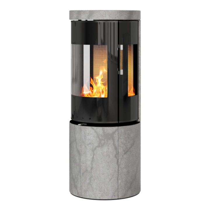Rais Juno 120 Wood Stove Black Glass/Soapstone Black Glass Framed Door Side Glass Windows - Black Glass / Soapstone