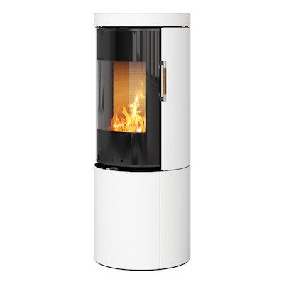 Rais Juno 120 Wood Stove Black Glass/White Black Glass Framed Door Solid Sides