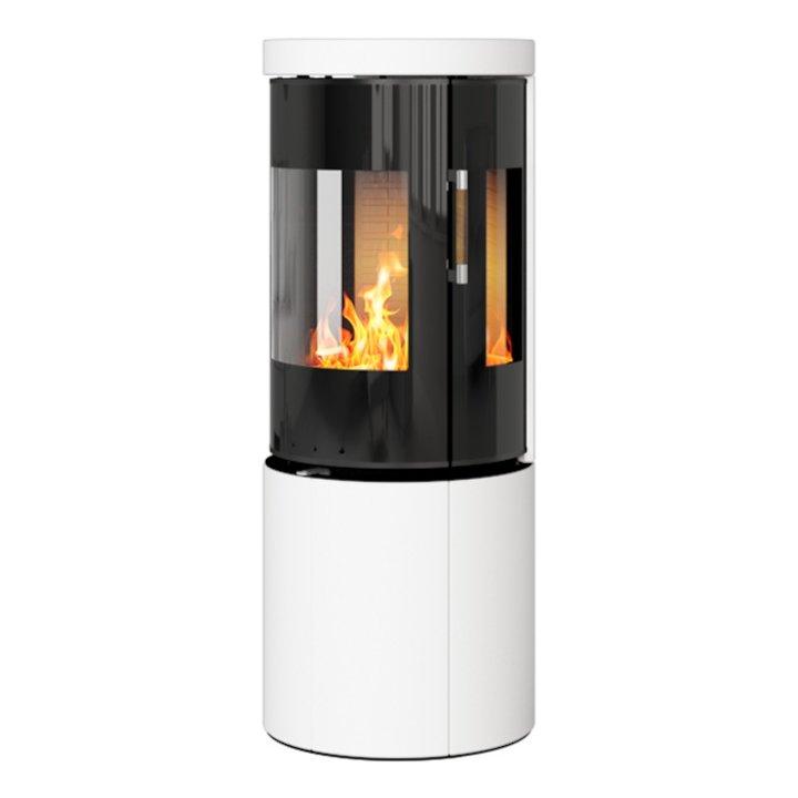 Rais Juno 120 Wood Stove Black Glass/White Black Glass Framed Door Side Glass Windows - Black Glass / White