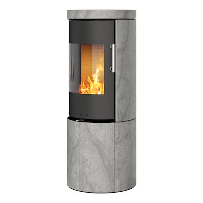Rais Juno 120 Wood Stove Black/Soapstone Metal Framed Door Solid Sides