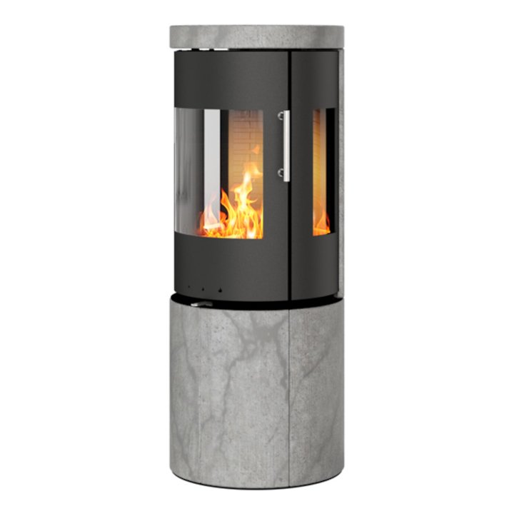 Rais Juno 120 Wood Stove Black/Soapstone Metal Framed Door Side Glass Windows - Black / Soapstone