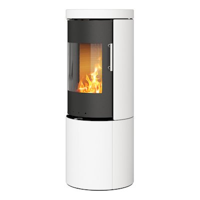 Rais Juno 120 Wood Stove Black/White Metal Framed Door Solid Sides