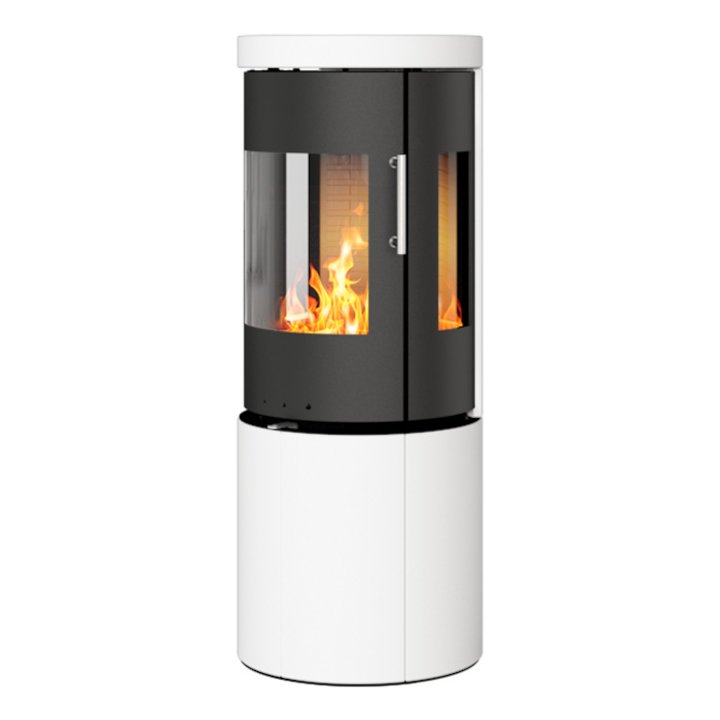 Rais Juno 120 Wood Stove Black/White Metal Framed Door Side Glass Windows - Black / White
