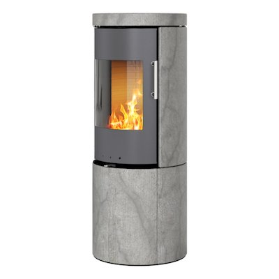 Rais Juno 120 Wood Stove Platinum/Soapstone Metal Framed Door Solid Sides