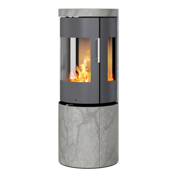 Rais Juno 120 Wood Stove Platinum/Soapstone Metal Framed Door Side Glass Windows - Platinum / Soapstone