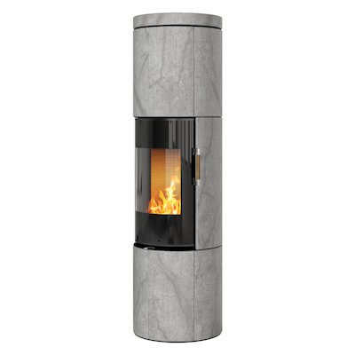 Rais Juno 160 Wood Stove Black Glass/Soapstone Black Glass Framed Door Solid Sides