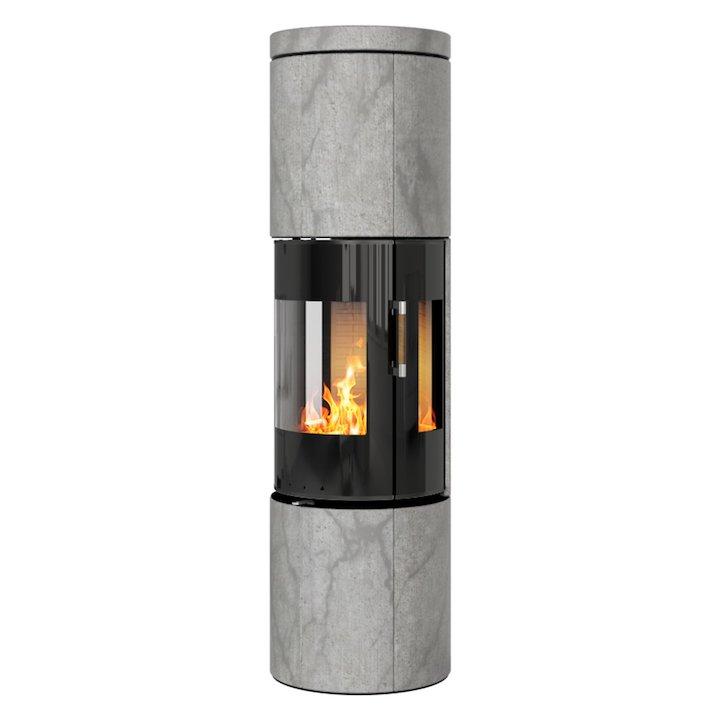 Rais Juno 160 Wood Stove Black Glass/Soapstone Black Glass Framed Door Side Glass Windows - Black Glass / Soapstone