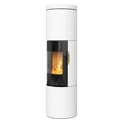 Rais Juno 160 Wood Stove Black Glass/White Black Glass Framed Door Solid Sides