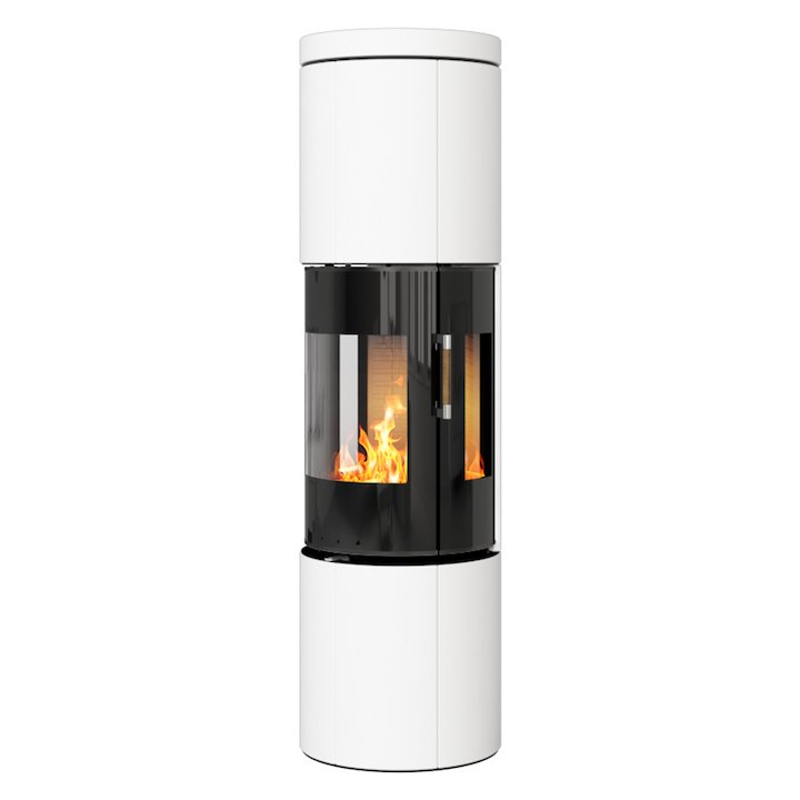 Rais Juno 160 Wood Stove Black Glass/White Black Glass Framed Door Side Glass Windows - Black Glass / White