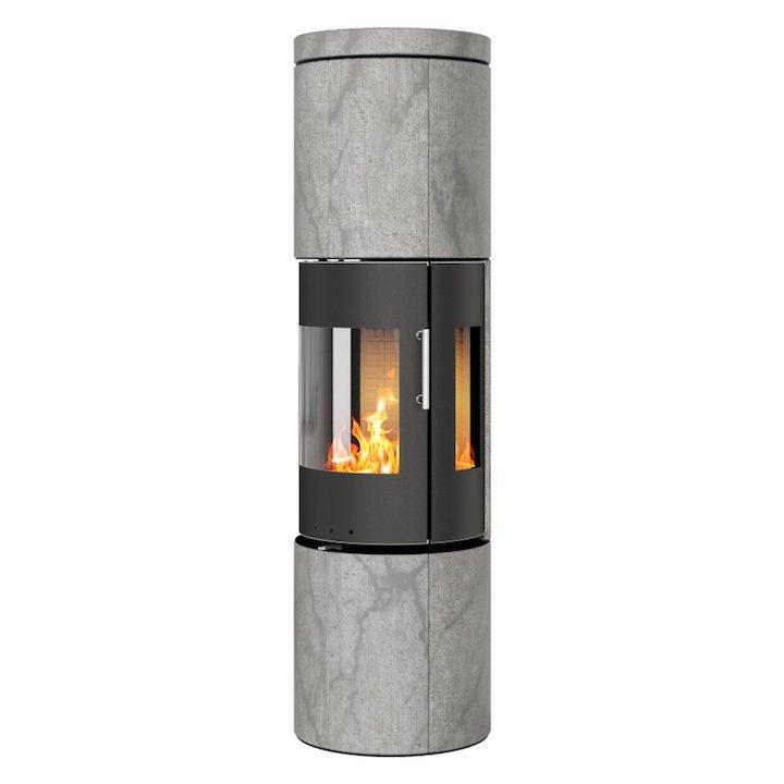 Rais Juno 160 Wood Stove Black/Soapstone Metal Framed Door Side Glass Windows - Black / Soapstone