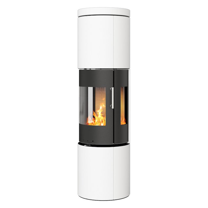 Rais Juno 160 Wood Stove Black/White Metal Framed Door Side Glass Windows - Black / White