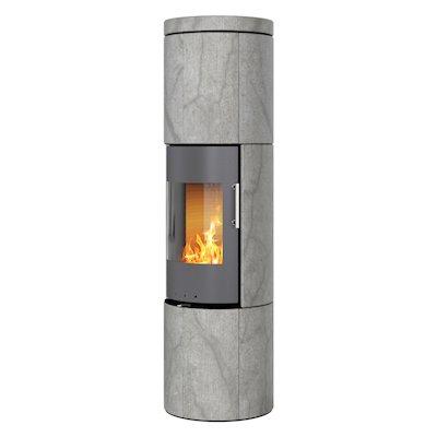 Rais Juno 160 Wood Stove Platinum/Soapstone Metal Framed Door Solid Sides