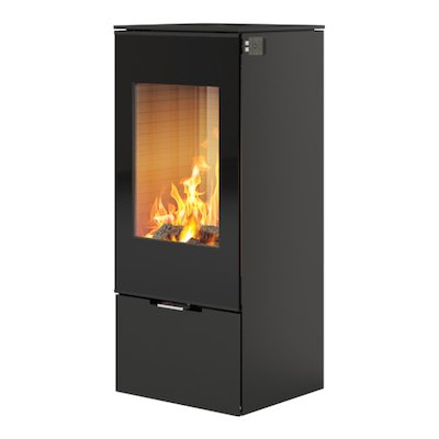 Rais Nexo 100 Wood Stove Black Black Glass Framed Door Solid Sides
