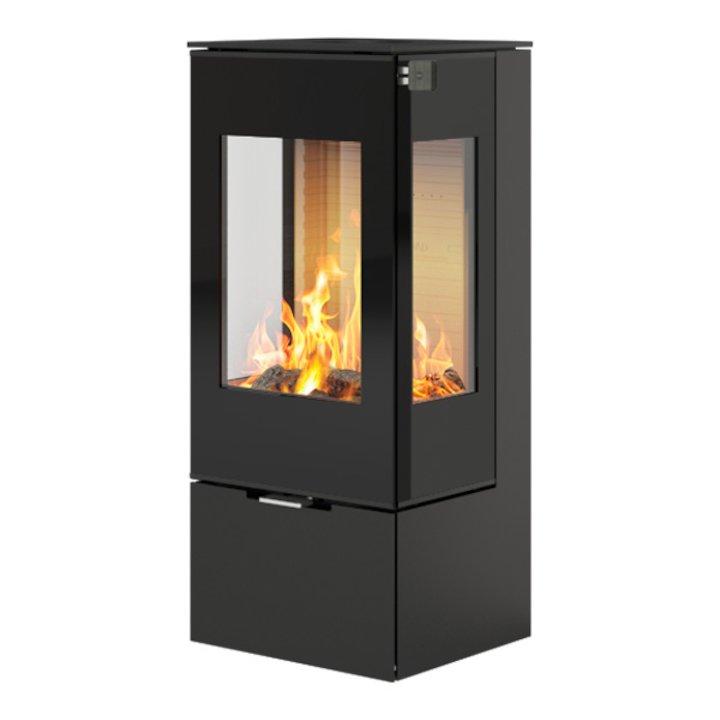 Rais Nexo 100 Wood Stove Black Black Glass Framed Door Side Glass Windows - Black