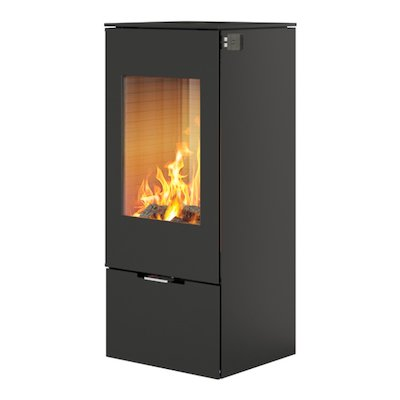 Rais Nexo 100 Wood Stove Black Metal Framed Door Solid Sides