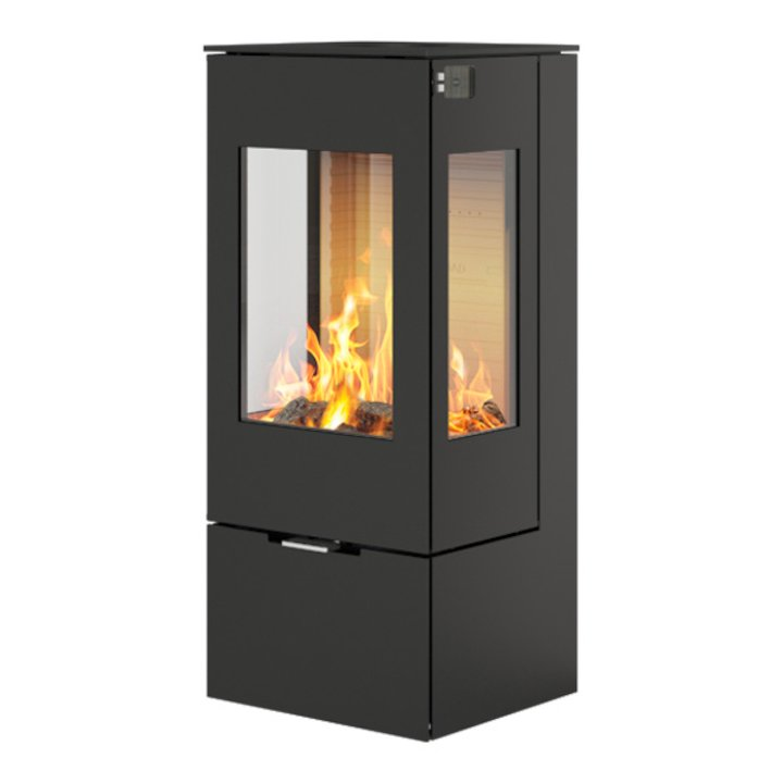 Rais Nexo 100 Wood Stove Black Metal Framed Door Side Glass Windows - Black
