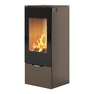 Rais Nexo 100 Wood Stove Mocha Black Glass Framed Door Solid Sides
