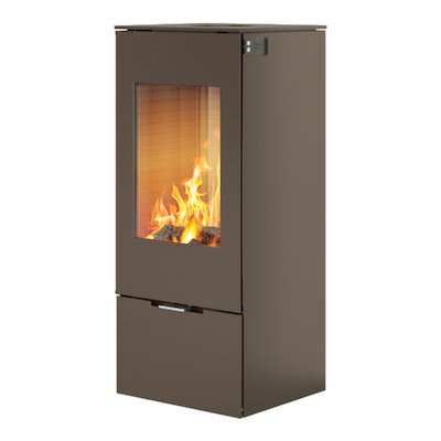 Rais Nexo 100 Wood Stove Mocha Metal Framed Door Solid Sides