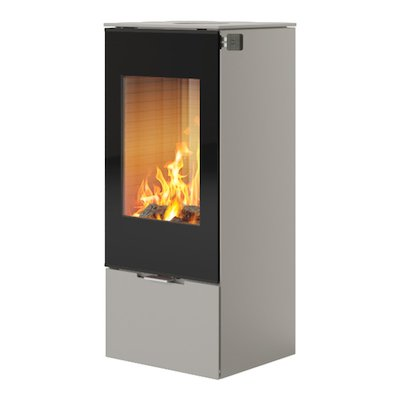 Rais Nexo 100 Wood Stove Nickel Black Glass Framed Door Solid Sides