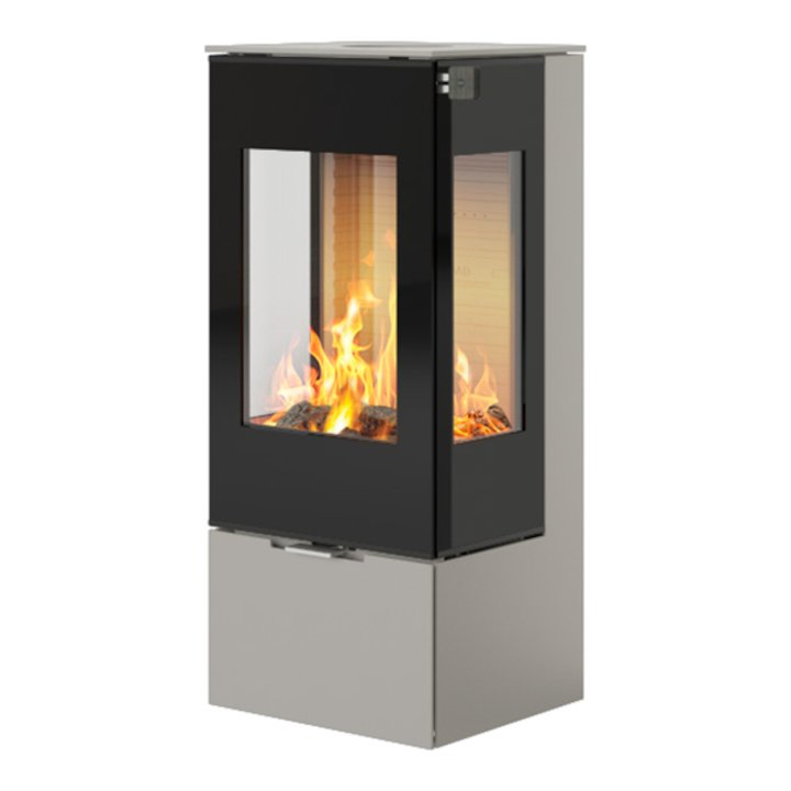 Rais Nexo 100 Wood Stove Nickel Black Glass Framed Door Side Glass Windows - Nickel