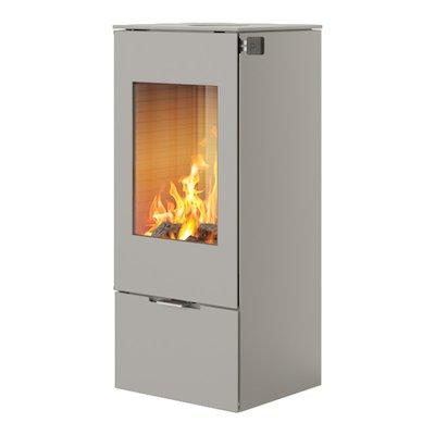 Rais Nexo 100 Wood Stove Nickel Metal Framed Door Solid Sides