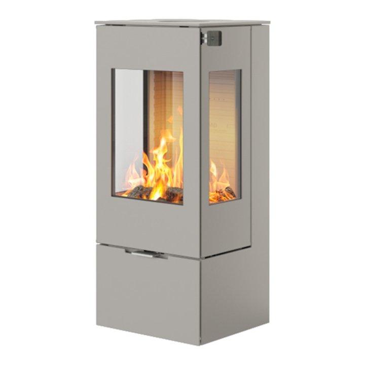 Rais Nexo 100 Wood Stove Nickel Metal Framed Door Side Glass Windows - Nickel