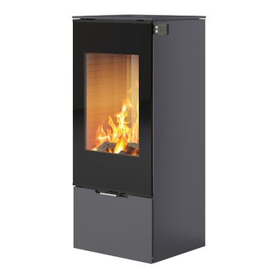 Rais Nexo 100 Wood Stove Platinum Black Glass Framed Door Solid Sides