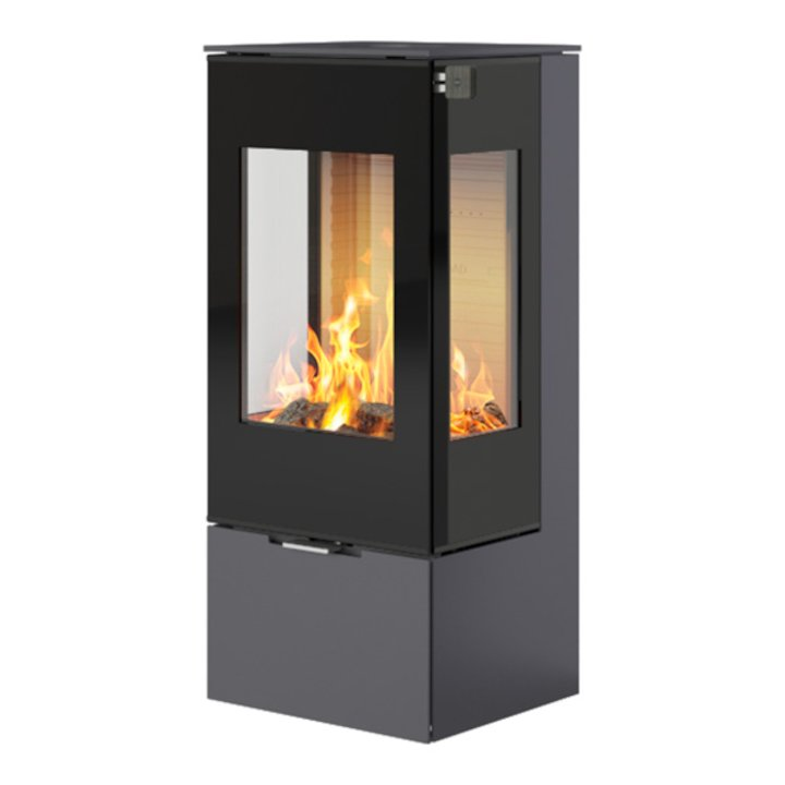 Rais Nexo 100 Wood Stove Platinum Black Glass Framed Door Side Glass Windows - Platinum