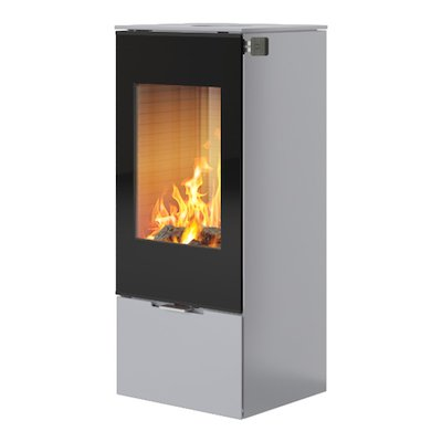 Rais Nexo 100 Wood Stove Silver Black Glass Framed Door Solid Sides