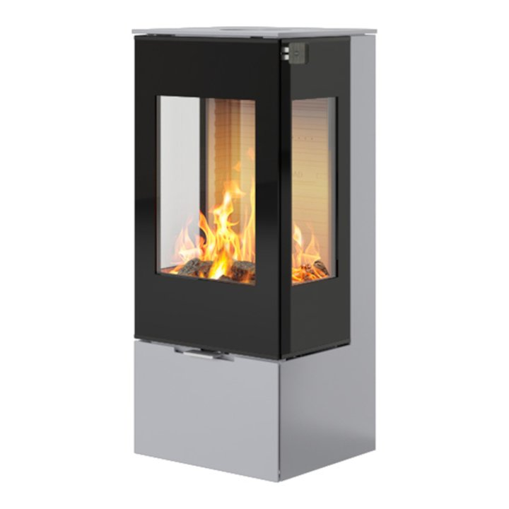 Rais Nexo 100 Wood Stove Silver Black Glass Framed Door Side Glass Windows - Silver Filigree