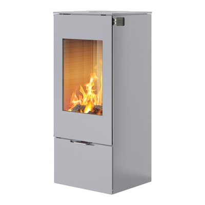 Rais Nexo 100 Wood Stove Silver Metal Framed Door Solid Sides