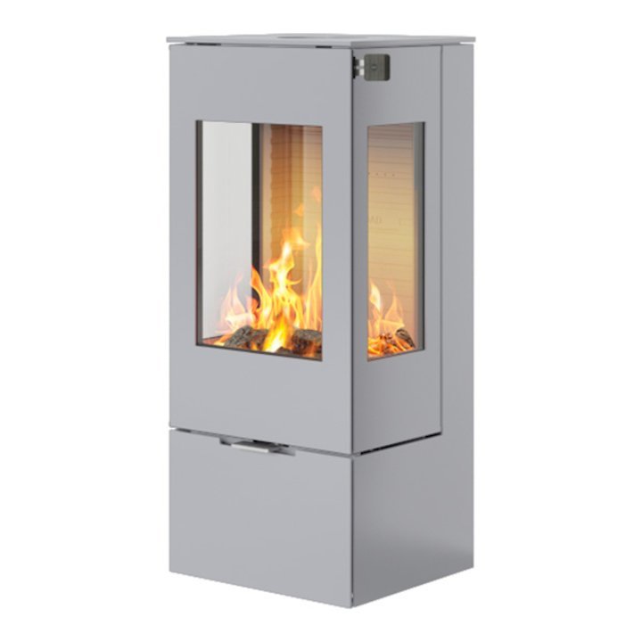 Rais Nexo 100 Wood Stove Silver Metal Framed Door Side Glass Windows - Silver Filigree