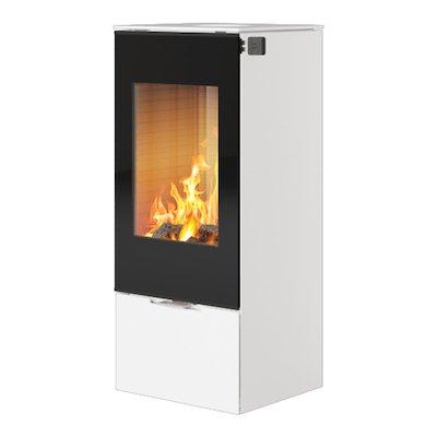 Rais Nexo 100 Wood Stove White Black Glass Framed Door Solid Sides