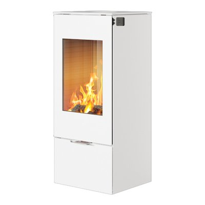 Rais Nexo 100 Wood Stove White Metal Framed Door Solid Sides