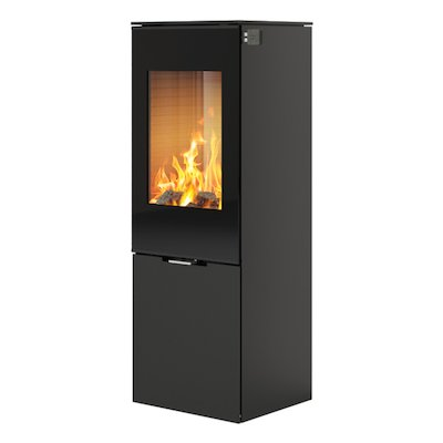 Rais Nexo 120 Wood Stove Black Black Glass Framed Door Solid Sides