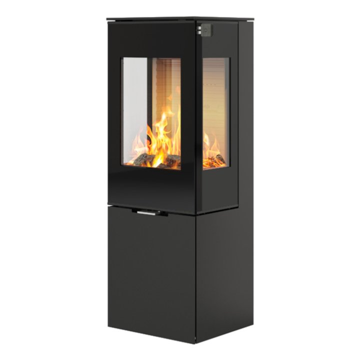 Rais Nexo 120 Wood Stove Black Black Glass Framed Door Side Glass Windows - Black