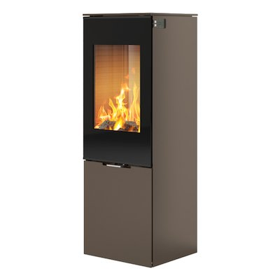 Rais Nexo 120 Wood Stove Mocha Black Glass Framed Door Solid Sides