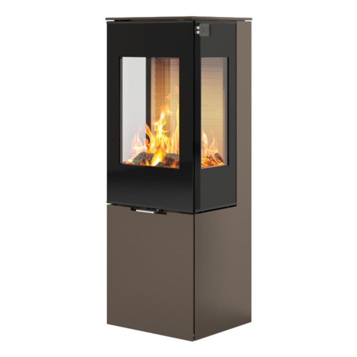 Rais Nexo 120 Wood Stove Mocha Black Glass Framed Door Side Glass Windows - Mocha