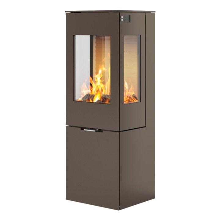 Rais Nexo 120 Wood Stove Mocha Metal Framed Door Side Glass Windows - Mocha