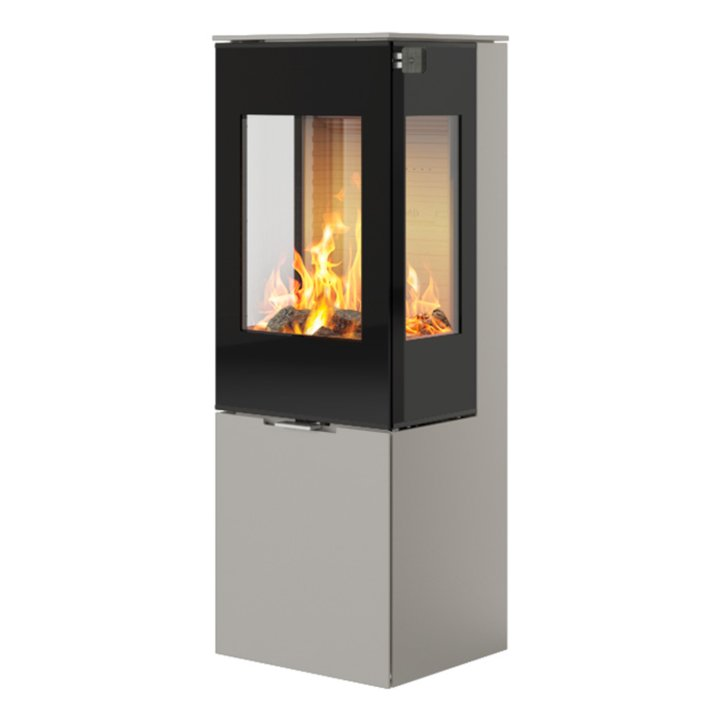 Rais Nexo 120 Wood Stove Nickel Black Glass Framed Door Side Glass Windows - Nickel