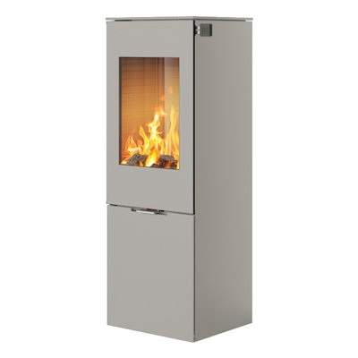 Rais Nexo 120 Wood Stove Nickel Metal Framed Door Solid Sides