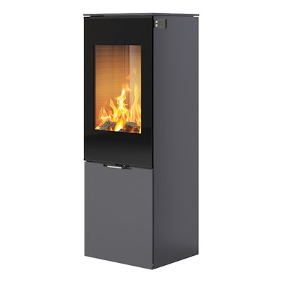 Rais Nexo 120 Wood Stove Platinum Black Glass Framed Door Solid Sides