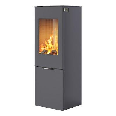 Rais Nexo 120 Wood Stove Platinum Metal Framed Door Solid Sides