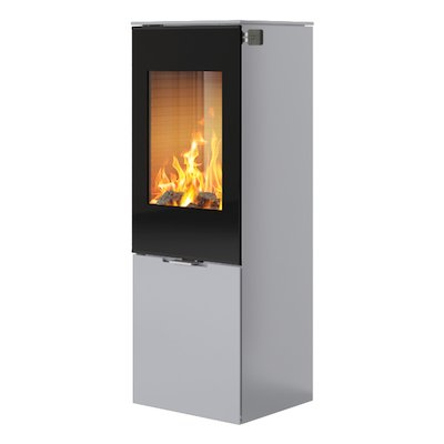Rais Nexo 120 Wood Stove Silver Black Glass Framed Door Solid Sides