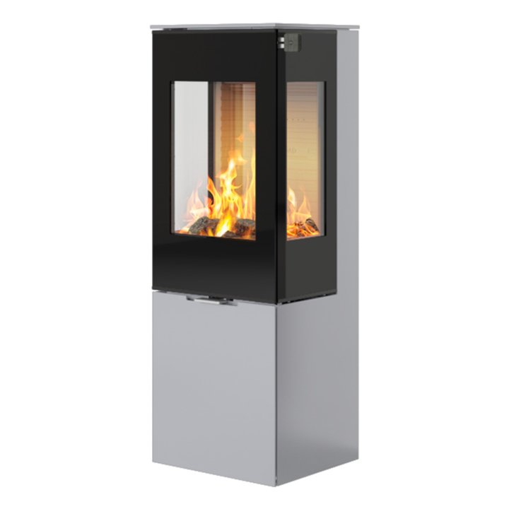 Rais Nexo 120 Wood Stove Silver Black Glass Framed Door Side Glass Windows - Silver Filigree