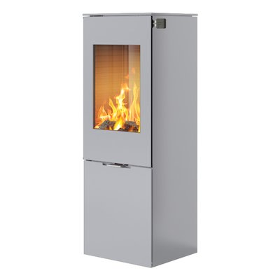 Rais Nexo 120 Wood Stove Silver Metal Framed Door Solid Sides