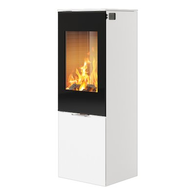 Rais Nexo 120 Wood Stove White Black Glass Framed Door Solid Sides