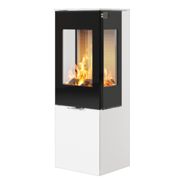Rais Nexo 120 Wood Stove White Black Glass Framed Door Side Glass Windows - White