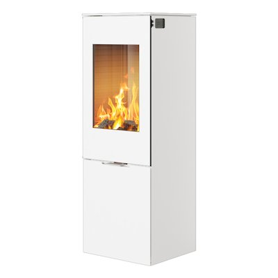 Rais Nexo 120 Wood Stove White Metal Framed Door Solid Sides