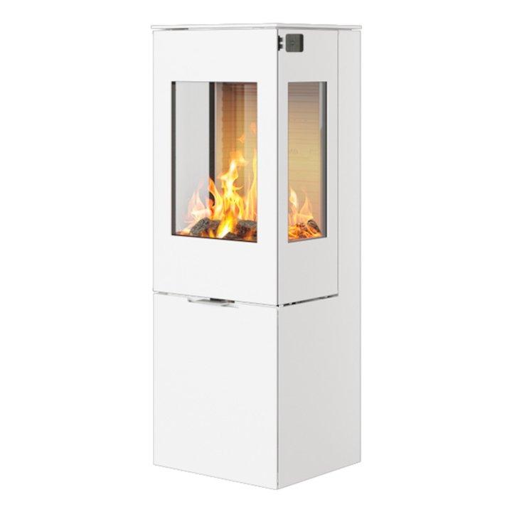 Rais Nexo 120 Wood Stove White Metal Framed Door Side Glass Windows - White